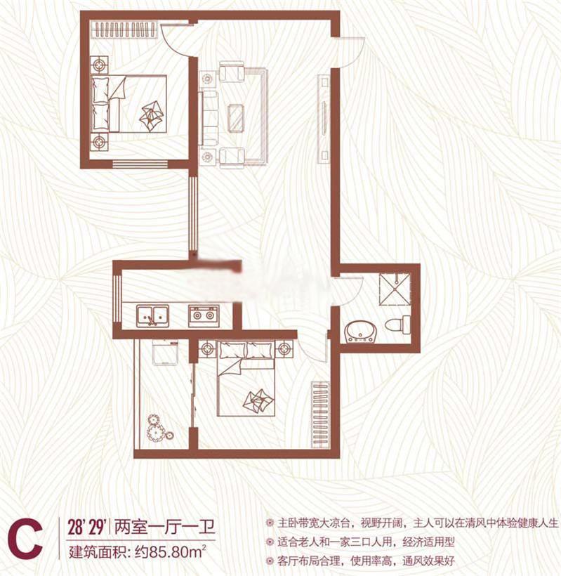 C户型 85.8㎡ 2室1厅
