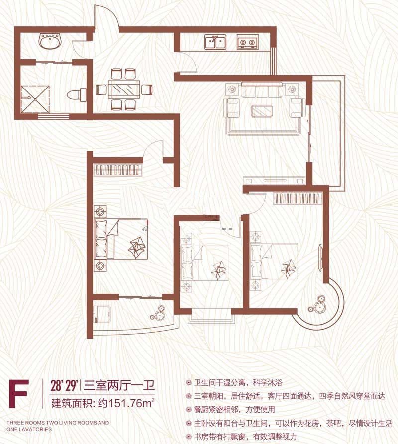 F户型 151.76㎡ 3室2厅