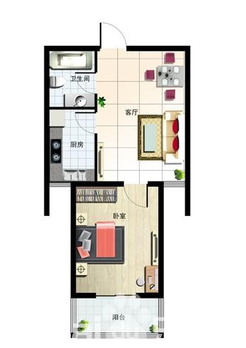 58㎡ 1室2厅