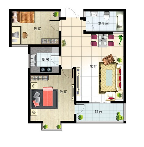 97㎡ 2室1厅