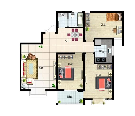 130㎡ 3室2厅