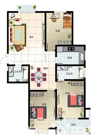 143㎡ 3室2厅
