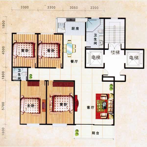 185㎡ 4室2厅