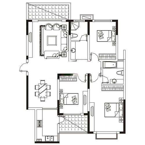A2户型 159.73㎡ 3室2厅