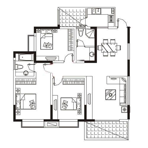 A3户型 141.73㎡ 3室2厅