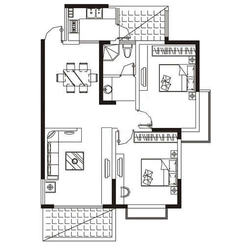 A4户型 113.25㎡ 2室2厅