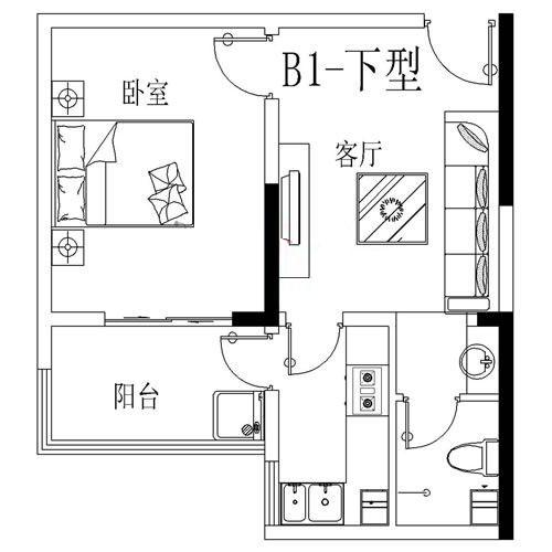 B1-下户型 53.86㎡ 1室1厅
