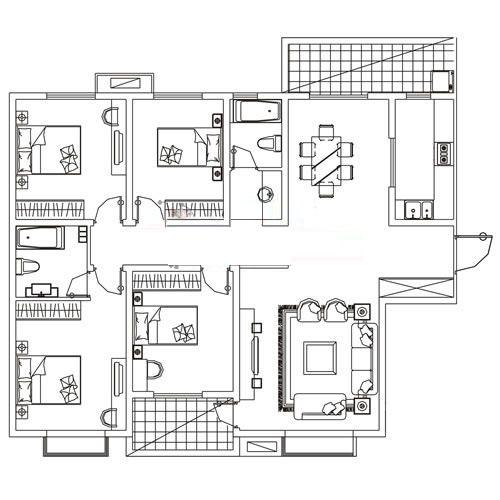 E-1户型 190㎡ 4室2厅