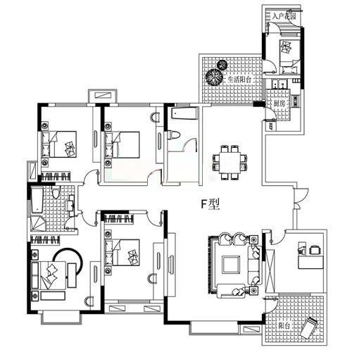 F户型 230㎡ 5室2厅