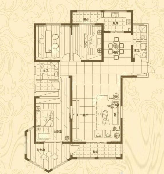1# 224㎡ 3室2厅
