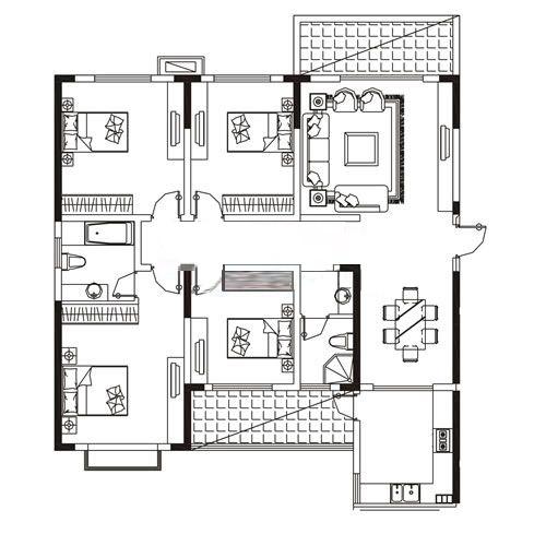 A-1户型 186.2㎡ 4室2厅