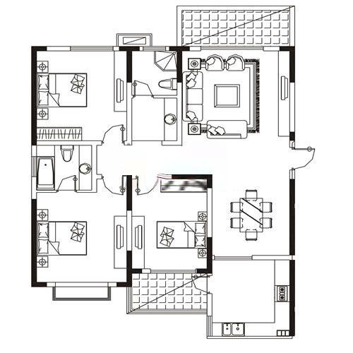 B1户型 163.15㎡ 3室2厅