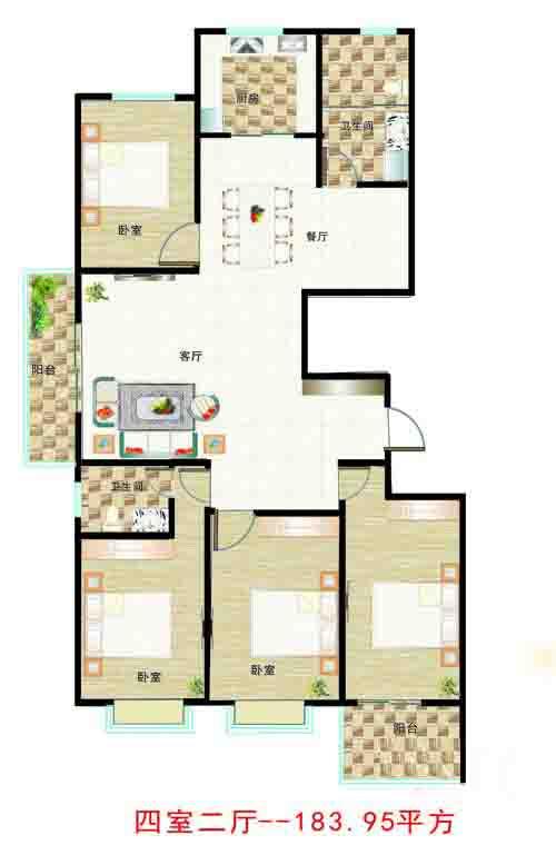4室2厅 183㎡
