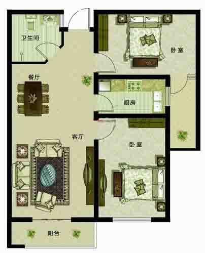 温馨两居2室2厅96㎡