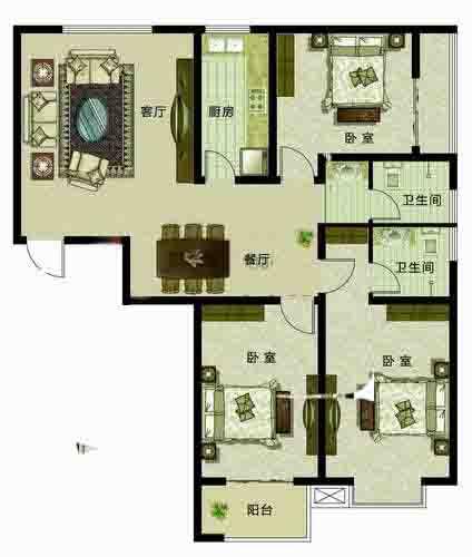世家三居3室2厅139.5㎡