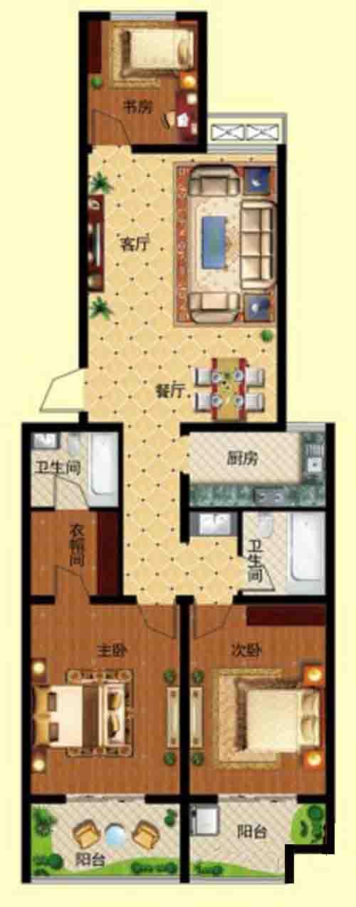 3房2厅 127.76㎡