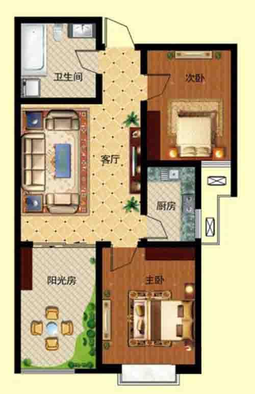 2室1厅 83.9—88.68㎡