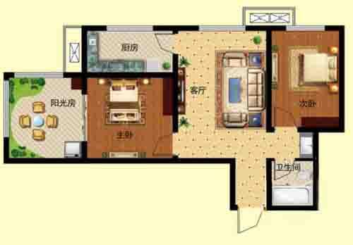 2室1厅 78.05㎡