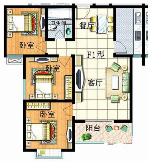 3室2厅1卫1厨104㎡