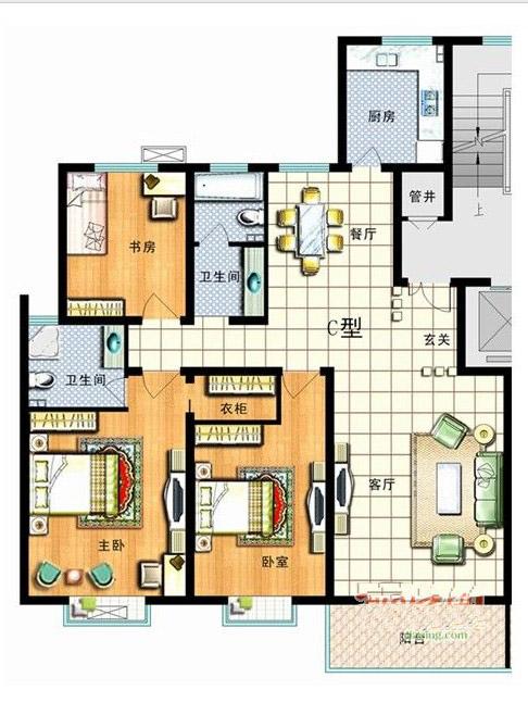 3室2厅2卫1厨131㎡