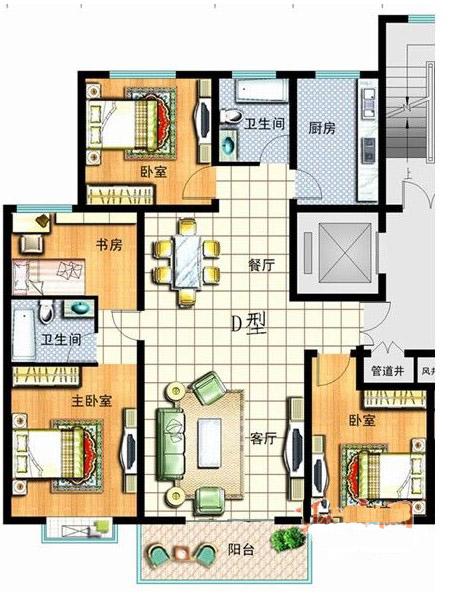 4室2厅2卫1厨138㎡