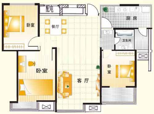 B2户型 120㎡ 3室2厅