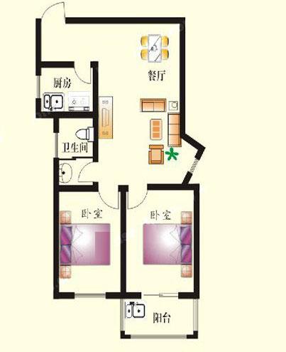 1# A户型 90㎡ 2室2厅