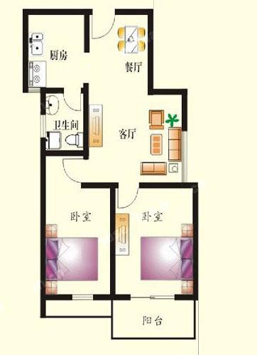 1# B户型 80㎡ 2室2厅