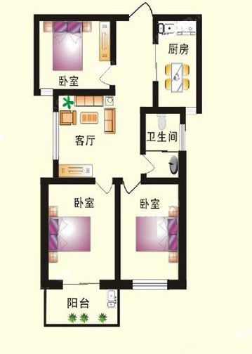 1# C户型 92㎡ 3室1厅