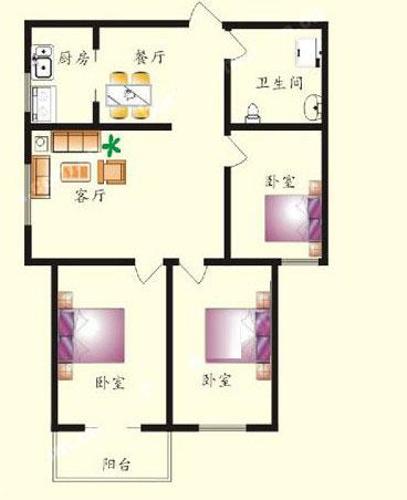 2# B户型 115㎡ 3室2厅