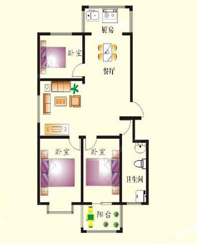 3# A户型 117㎡ 3室2厅