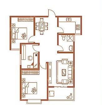 D户型 113.22㎡ 3室2厅