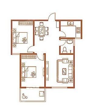 B户型 95.60㎡ 2室2厅