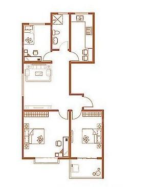 H户型 117.89㎡ 3室1厅