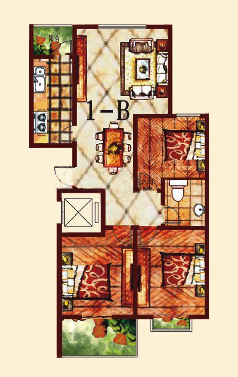 1-B 3室2厅 125.57㎡