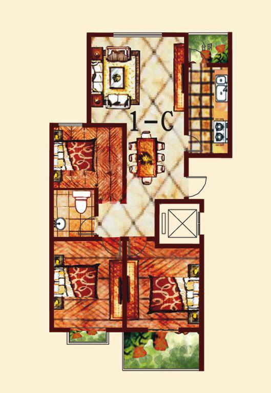 1-C 3室2厅 131.91㎡