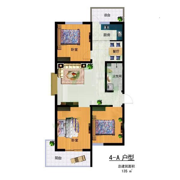 4-A 135㎡ 3室2厅