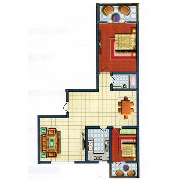 96.09㎡ 2室2厅