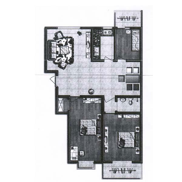 C1 121.84㎡ 2室2厅