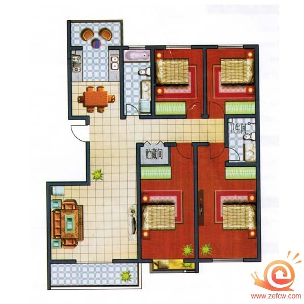 E 172.4 ㎡ 4室2厅
