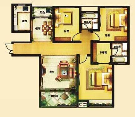 A 142㎡ 3室2厅