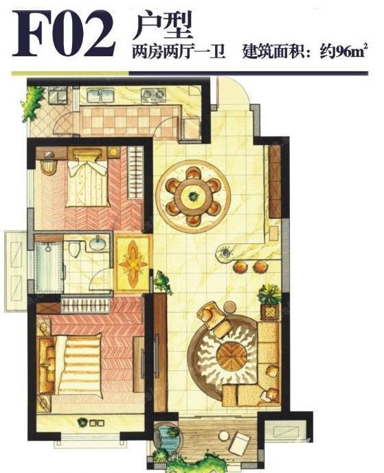 F02户型 96㎡ 卡萨雷斯