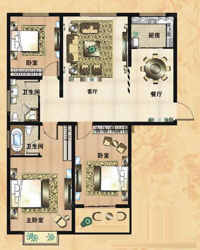 A1户型 126.46㎡ 3室2厅