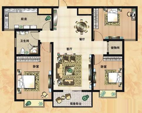 A2户型 124.67㎡ 3室2厅