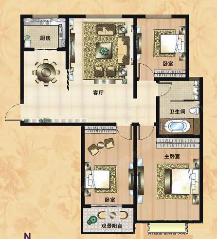 A3户型 125.64㎡ 3室2厅