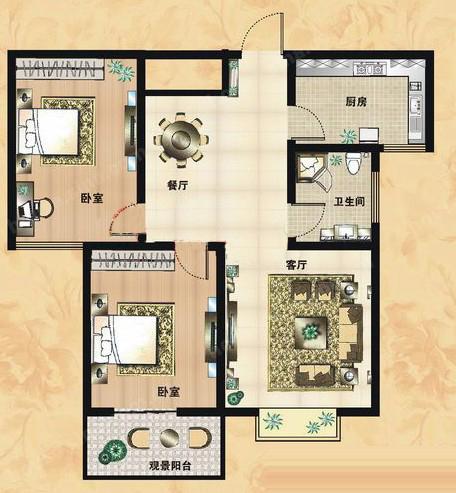 B2户型 89.23㎡ 2室2厅