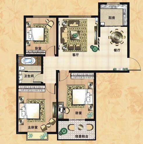 B3户型 122.25㎡ 3室2厅