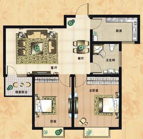 C2户型 86.09㎡ 2室2厅