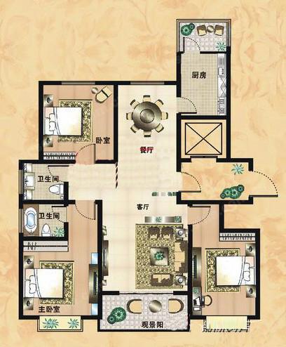 D户型 135.61㎡ 3室2厅