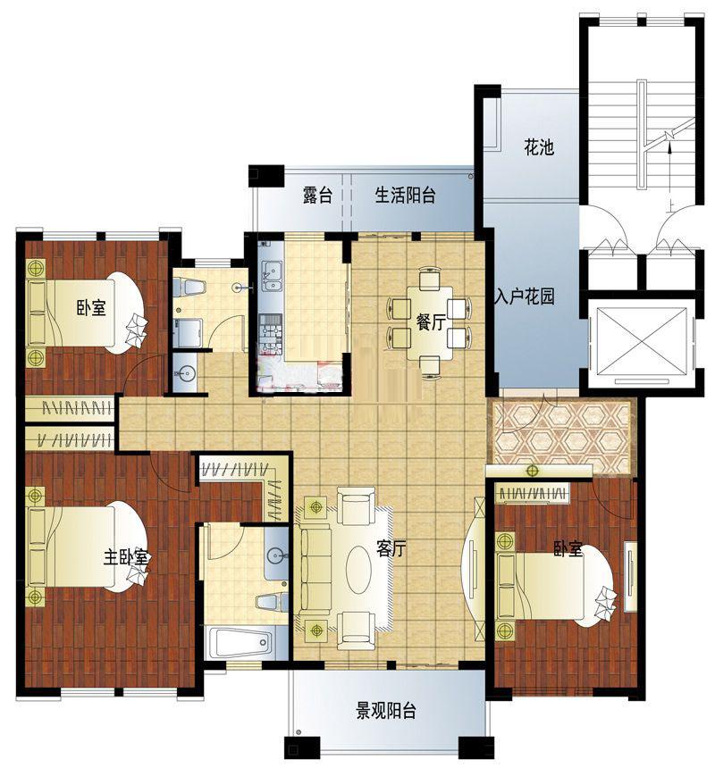D3户型 3室2厅 164㎡